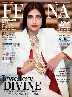 Sonam Kapoor in White Bl;azer and Red Inners on cover of Femina magazine October 2016