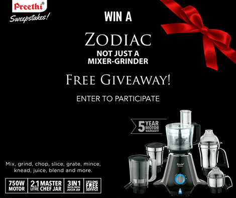Preethi Sweepstakes Contest Giveaway Win Free Zodiac Mixer Grinder