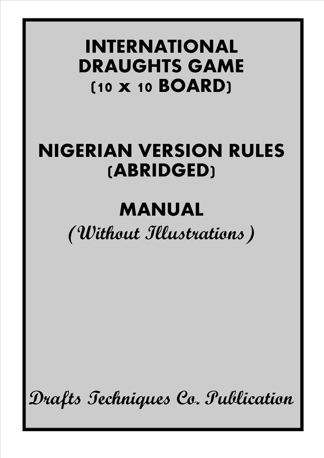 NIGERIAN DRAUGHTS GAME - RULES MANUALS (FREE E-BOOKS)