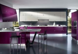 diseño cocina púrpura
