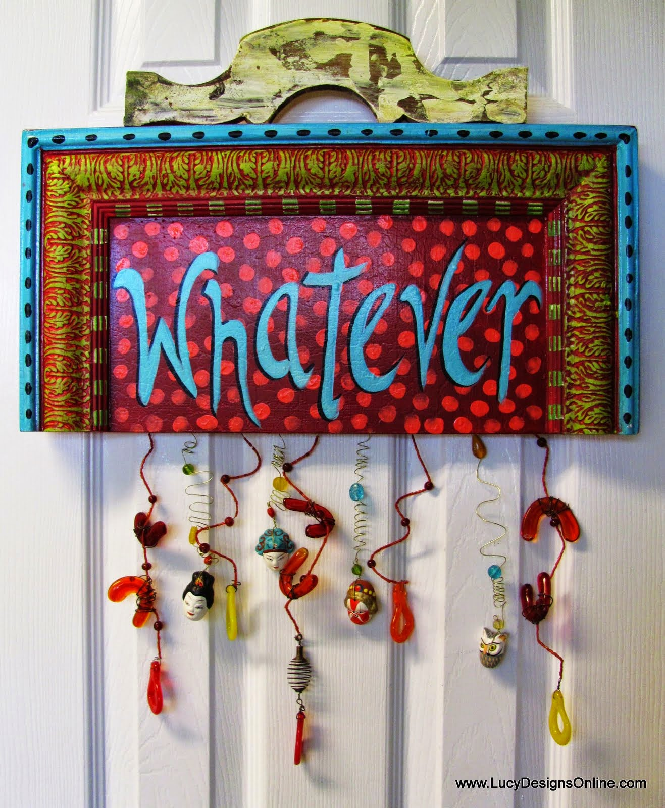 "hand painted fun and funky sign ""whatever"""