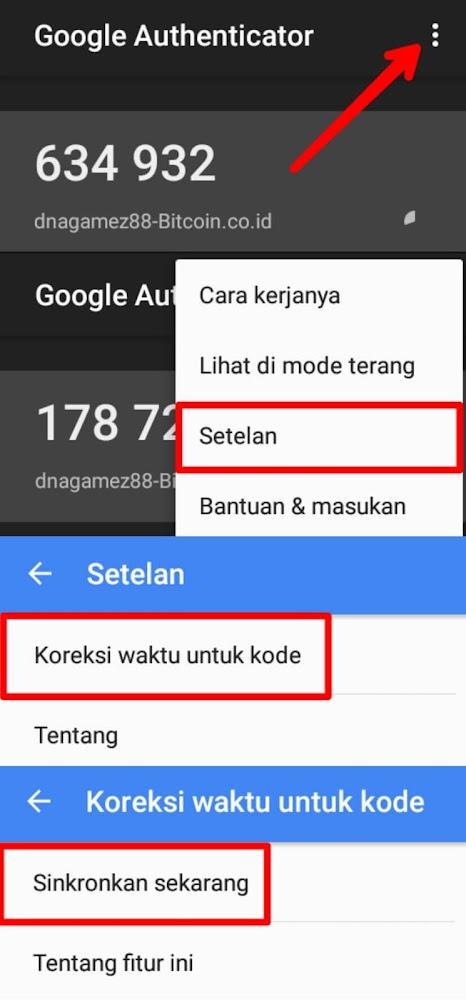 """Masuk ke Google Auth pilih menu navigasi yang berada di pojok kanan atas (titik 3) dan Pilih """"Setelan"""" > """"Koreksi waktu kode"""" dan pilih """"Sinkronkan sekarang""""."""