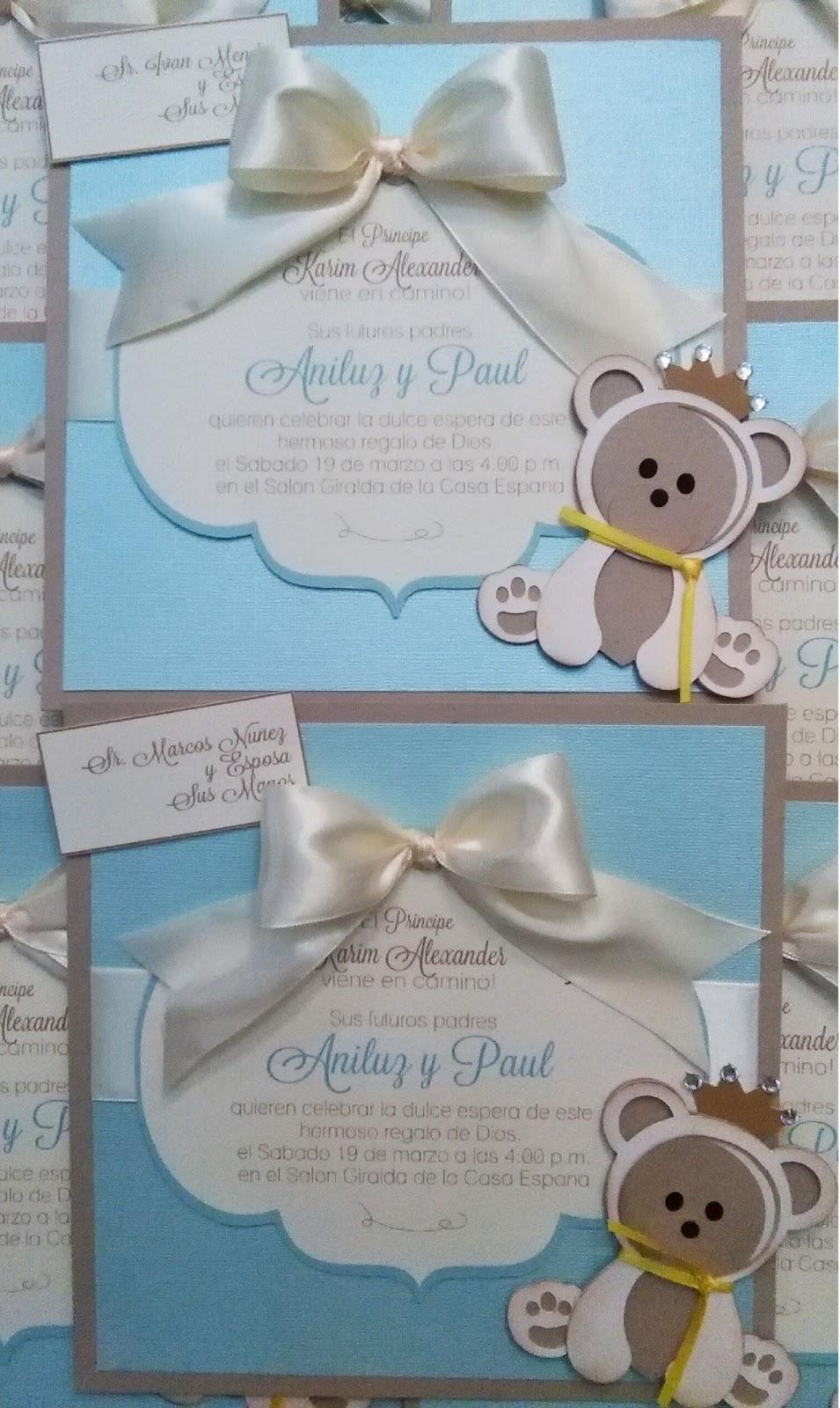 Mis Creaciones by Patricia Chalas: Bear Baby Shower Invitations