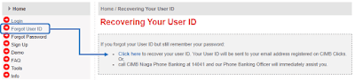 recovering user id cimbclicks