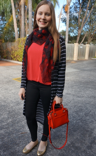 print mixing skinny jeans and red tee outfit: skull scarf and stripes | awayfromblue