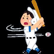 空振りをする野球選手のイラスト(女性)
