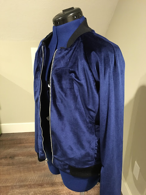 Blue velvet jacket using McCall's 7100 and fabric from Mood Fabrics