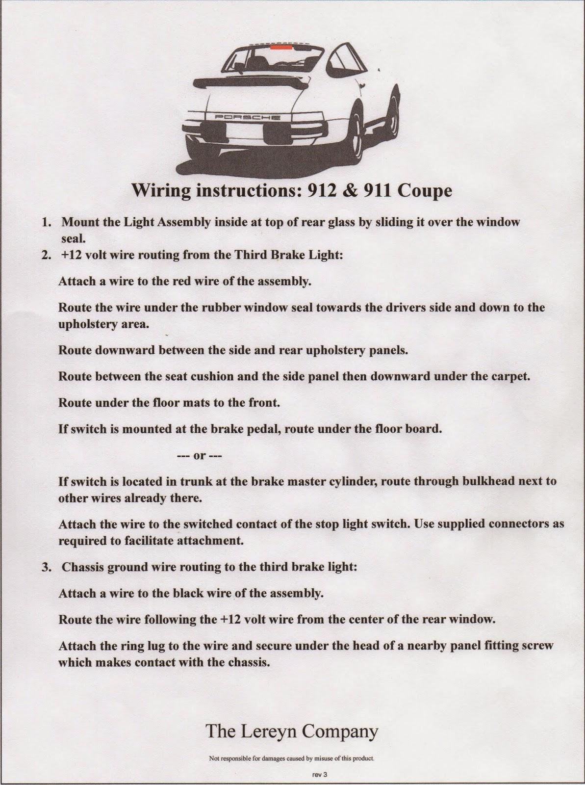 Third Brake Lights for 356, 912 and 911 Porsches