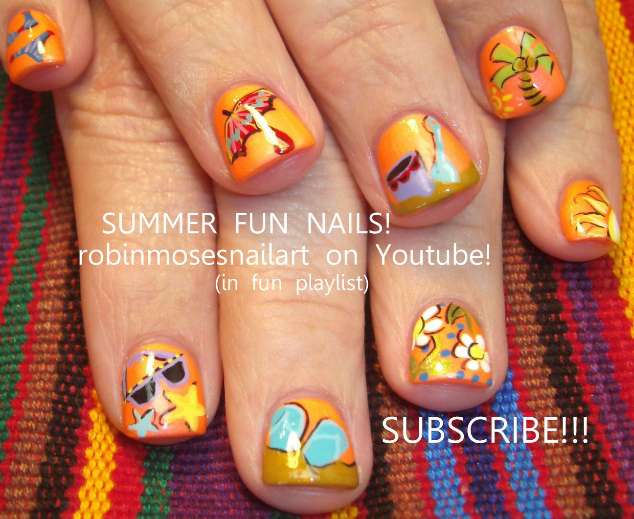 Nail Art By Robin Moses Summer Fun Nails Umbrella Nails Bikini