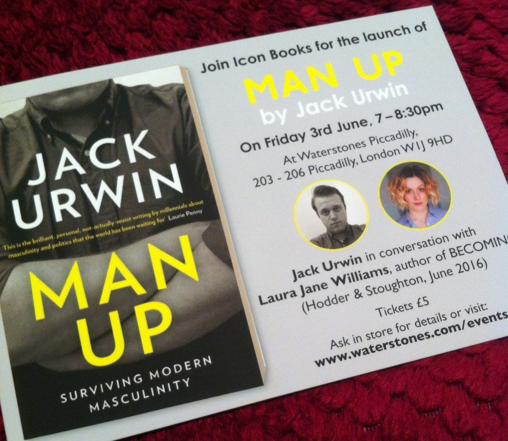 A photo of a postcard promoting the Man Up by Jack Urwin launch