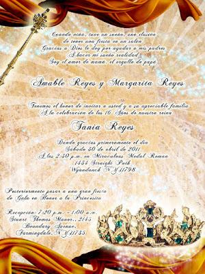 Invitación novedosa para 15 años en color dorado y bronce con cetro y corona