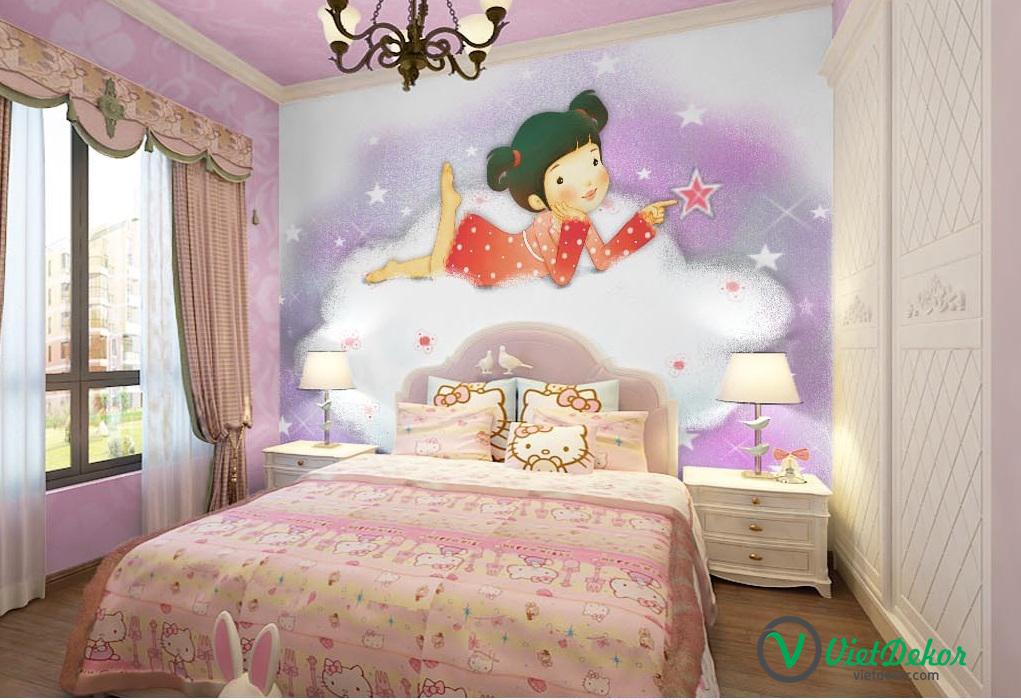 Tranh dán tường 3d phòng ngủ bé gái