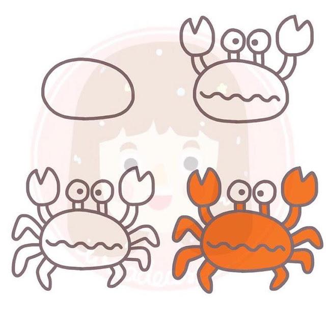 Cara menggambar kepiting untuk anak-anak