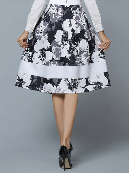 White A-line Elegant Floral Cotton-blend Midi Skirt– Price: $70.00