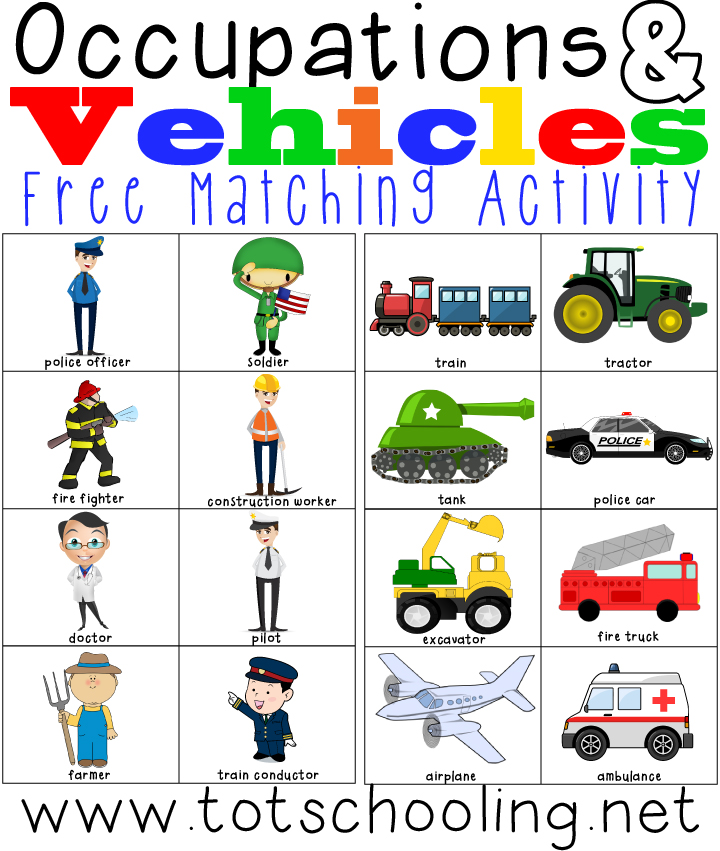 FREE printable Occupations & Vehicles matching activity for toddlers and preschoolers to learn about community helpers, vehicles and occupations!