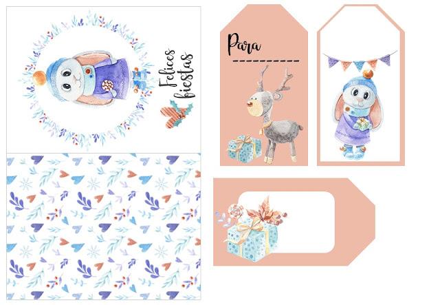 imprimibles, navidad, pdf, cajitas regalo, papel, etiquetas, pegatinas, descargar, gratis