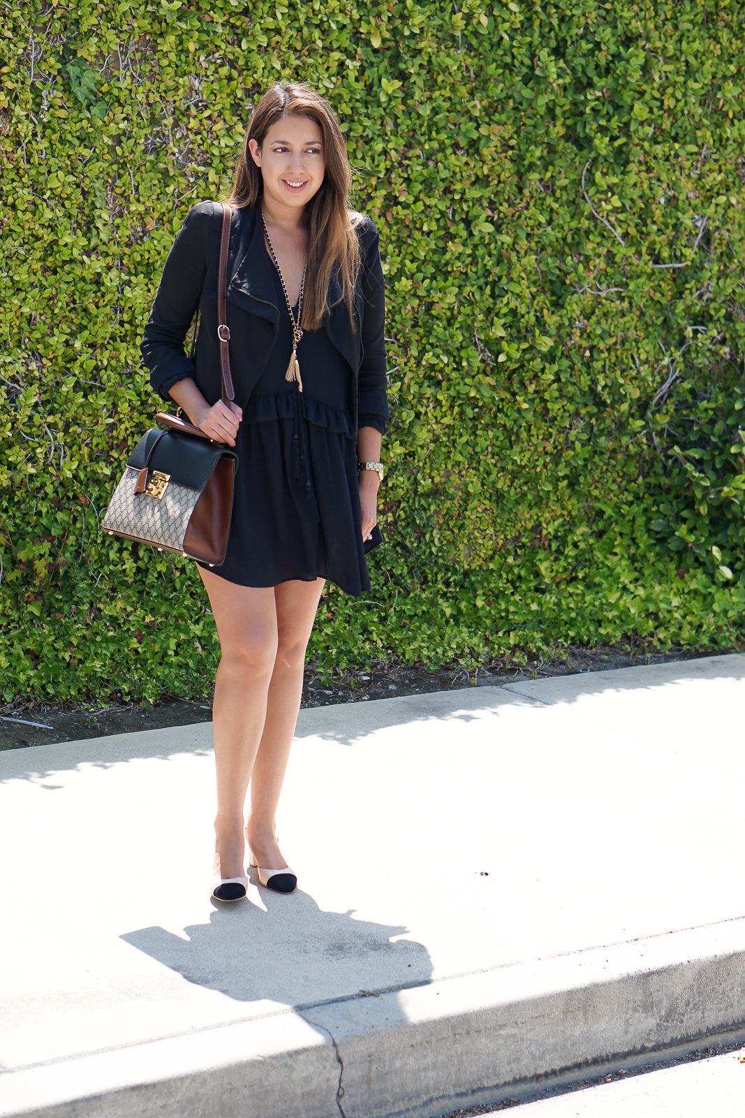 Chanel Slingback Dupes, Chanel Dupe, Splurge vs Save, H&M Dress, Ivanka Trump Heels, Guess Necklace, Gucci Bag,