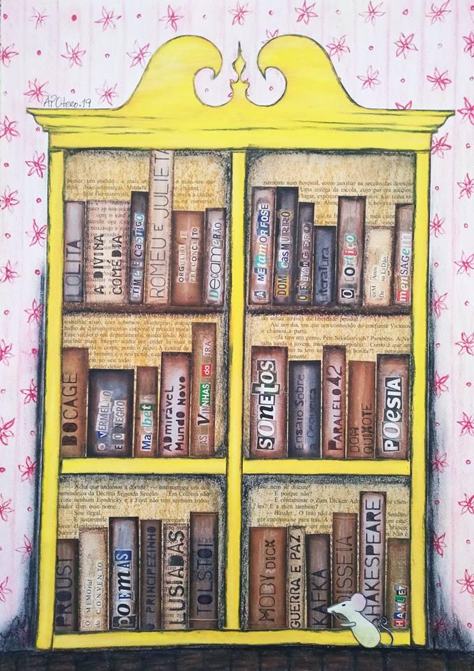 """Ilustração da Coletive Ana Paula Otero, encerrando a Semana de Aniversário da Biblioteca Pública Municipal Monteiro lobato de Gravataí.Arte intitulada:""""Rato de biblioteca""""."""