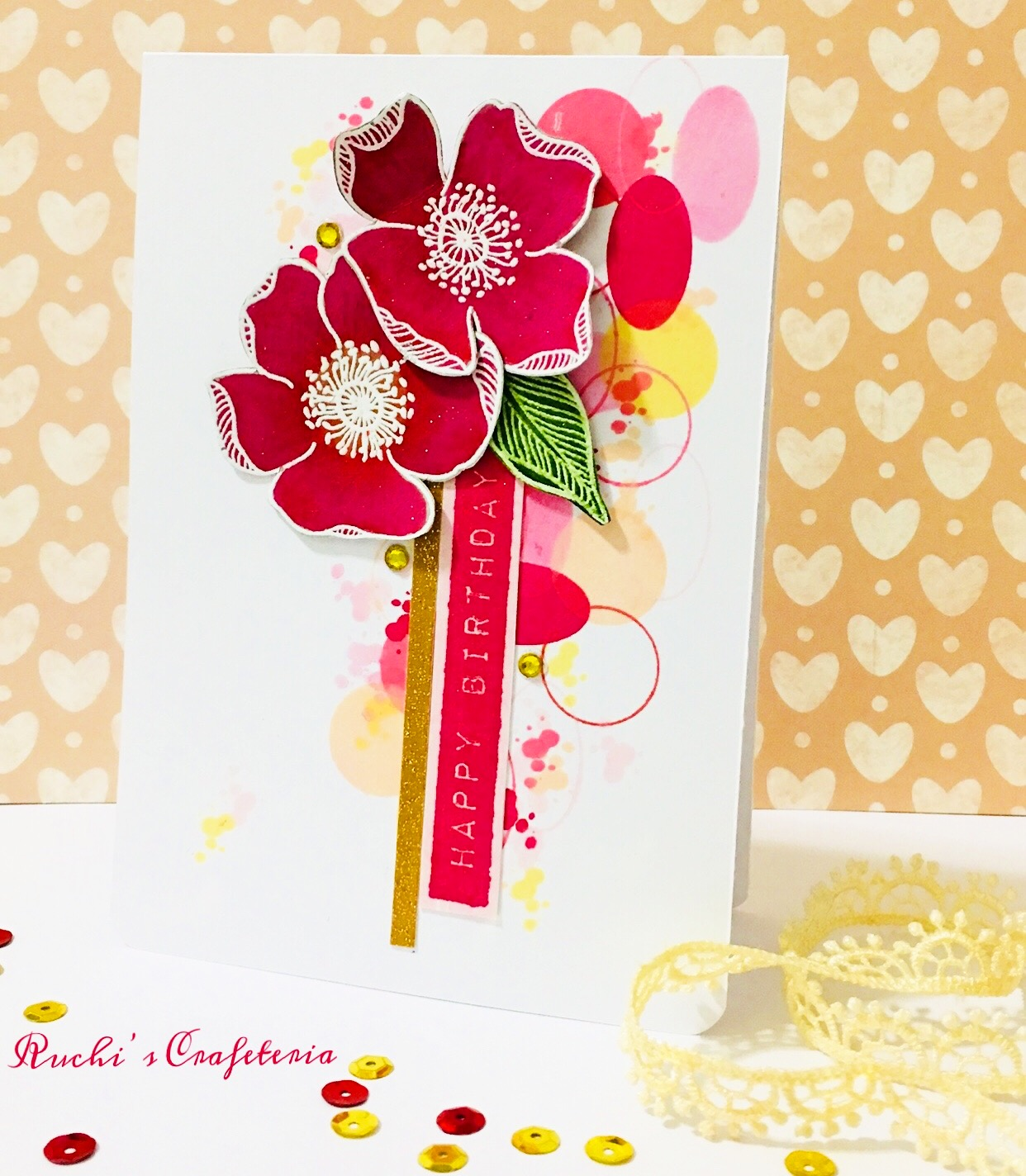 Ruchis crafeteria for this card first i stamped all the flowers and leaf which are from altenew adore you stamp seting versamark ink on strathmore watercolor paper and kristyandbryce Choice Image