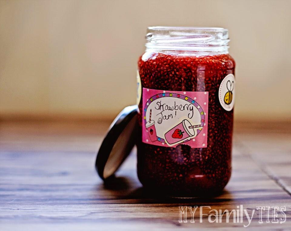 A jar of home-made strawberry fridge jam made with chia seeds.