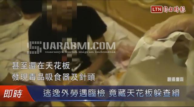 TKW Kaburan Tertangkap Bersembunyi Diatas Plafon Kamar Hotel Bersama Brondong dan Sembunyikan Narkoba