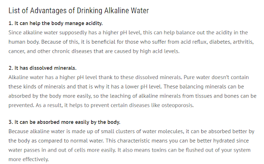 Advantages of Drinking Alkaline Water
