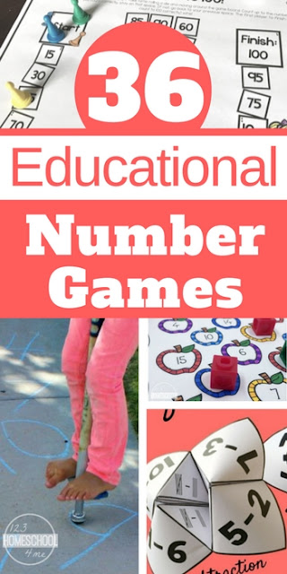 36 Educational Number Games - so many fun math activities for kids from toddler, preschool, kindergarten, first grade, 2nd grade, 3rd grade, 4th grade, and 5th grade kids to make math practice FUN!