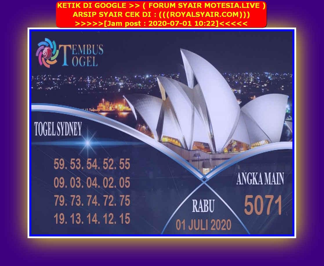 Kode syair Sydney Rabu 1 Juli 2020 100