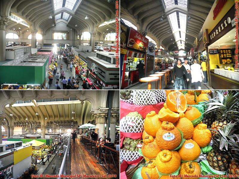 Arquitetura interna, lojas e mezanino do Mercado Municipal de SP