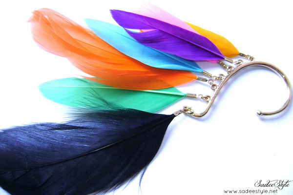 Multi-Colored Feather Ear Piece