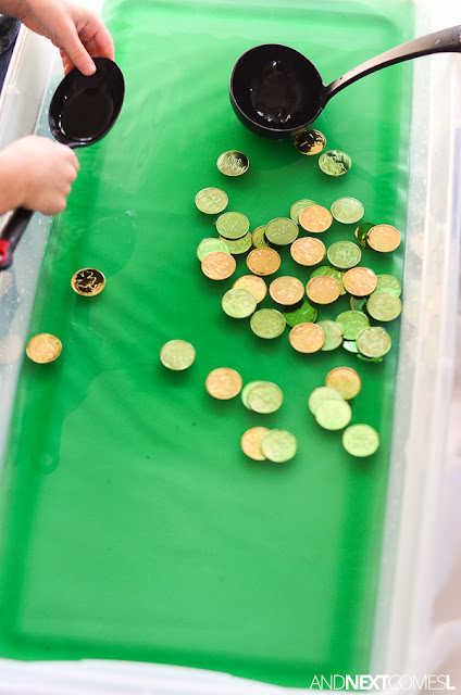 Fine motor sensory bin for St. Patrick's Day from And Next Comes L