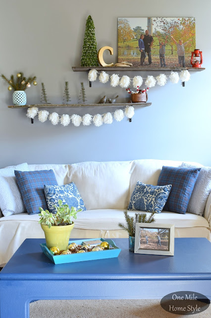 Blue and White Living Room- One Mile Home Style