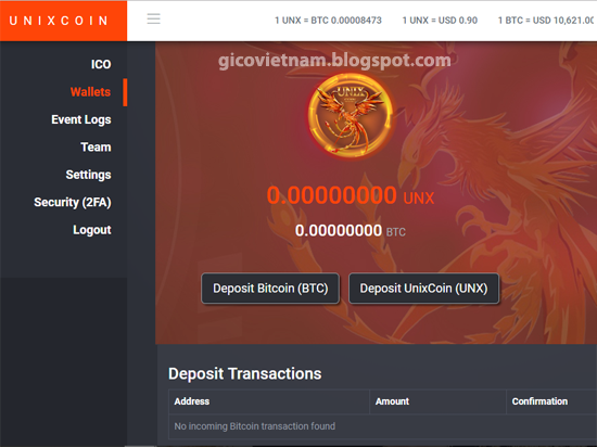Deposit Bitcoin (BTC) mua unix