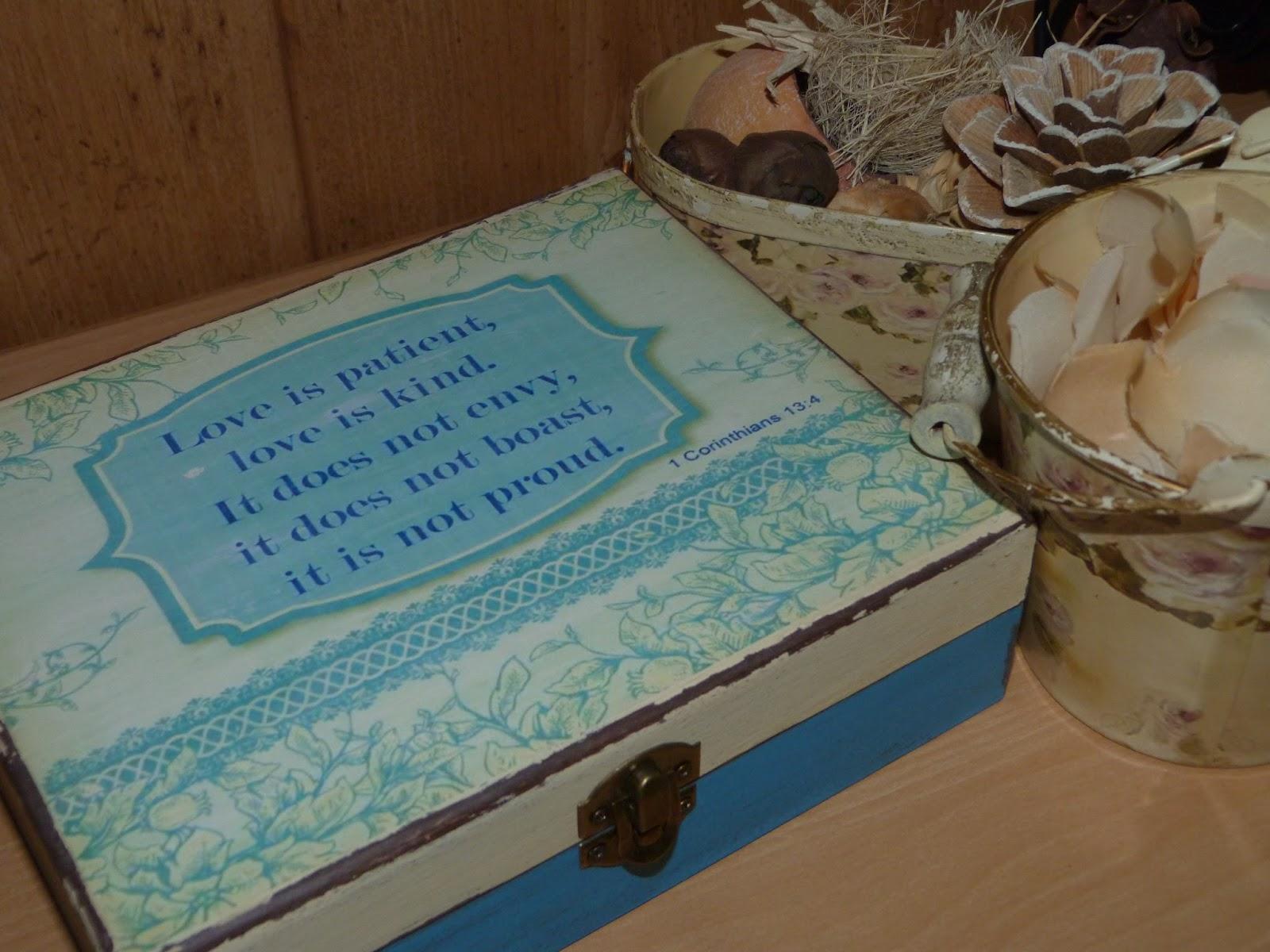 Caja de madera decorada para boda - Isabel Vintage