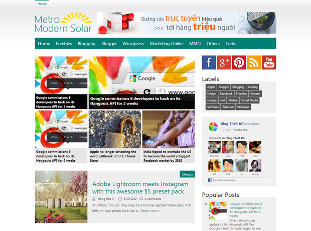 Download Free Metro Modern Solar Blogger Template
