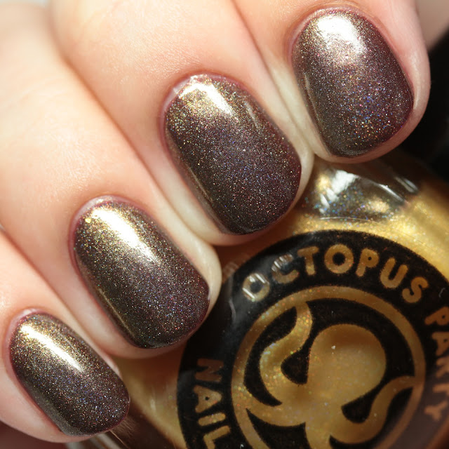 Octopus Party Nail Lacquer The Midas Touch over Red Blood Sells