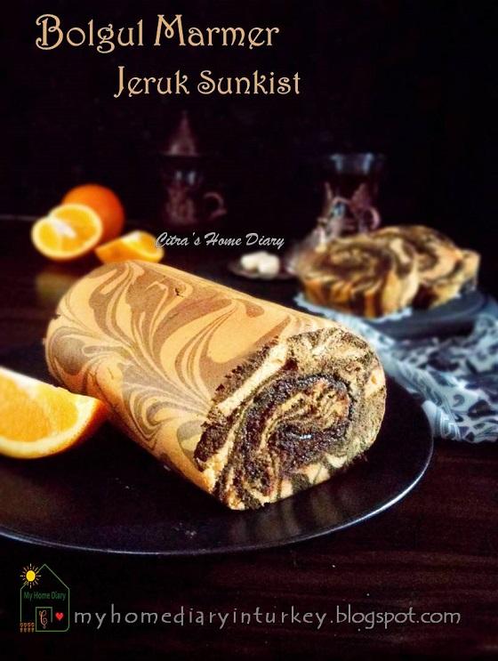 Orange Chocolate Marble Roll Cake.No Fail recipe / Bolu gulung marmer rasa jeruk sunkist yang lezat dan mudah.