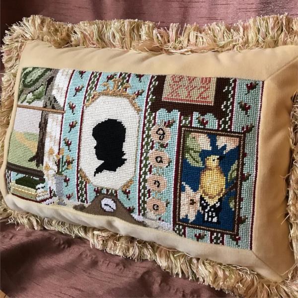 Vintage cameo cushion design by The Plum Stitchery