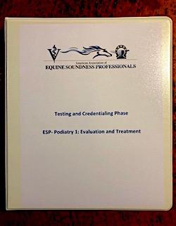 Equine Soundness Professionals credential testing binder