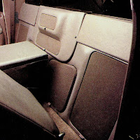 image in color of the interior of Matt Billmeier's 1995 Dodge Ram truck  highlighting the grill covers behind the driver's seat