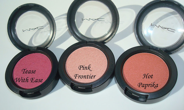 Mac Tease With Ease,  Pink Frontier &  Hot Paprika Eyeshadows