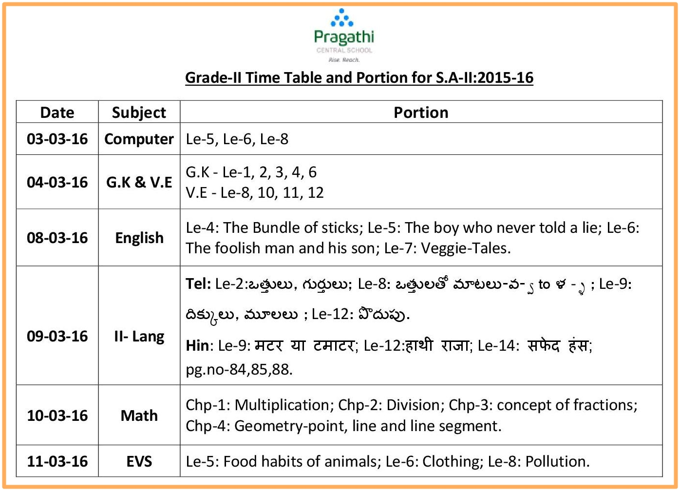 Pragathi central school grade 2 time table and for Html table class