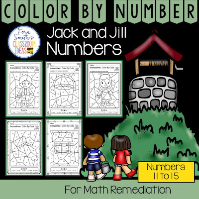 Color By Number For Math Remediation Numbers 11 to 15 Jack and Jill Up the Hill