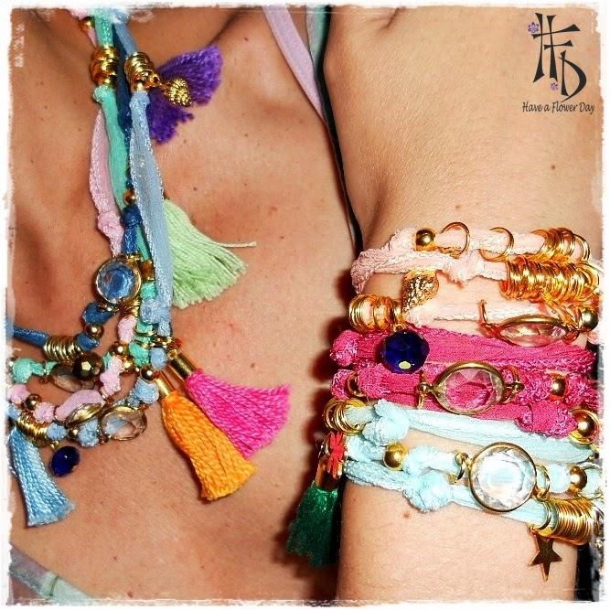 Collares o pulseras de seda india con charms y borlas