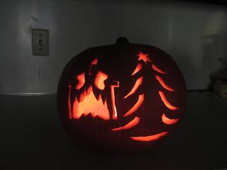 carved christmas pumpkin