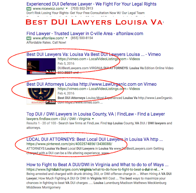 https://vimeo.com/154318213 Charlottesville: Auto Accident Lawyers Online Marketing  https://vimeo.com/151662990 personal injury attorneys Charlottesville https://vimeo.com/151250250  https://vimeo.com/150967639  Charlottesville  Email MediaVizual@gmail.com TODAY Are you an Auto Accident Attorney, or DUI Lawyer, in Charlottesville, and need better Organic WebPage & Video Listing, Search Engine Visibility, on the first two pages of Google?