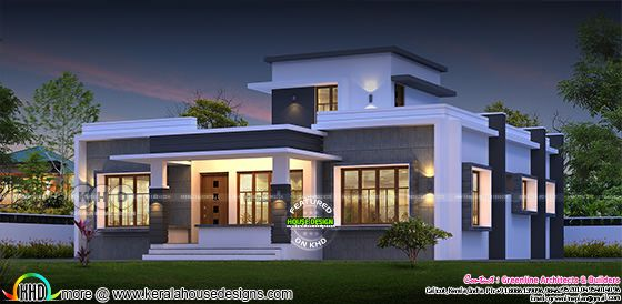 1737 square feet 3 bedroom flat roof modern single storied house