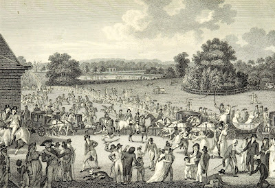 The Entrance to Hyde Park on Sunday from Modern London by R Phillips (1804)