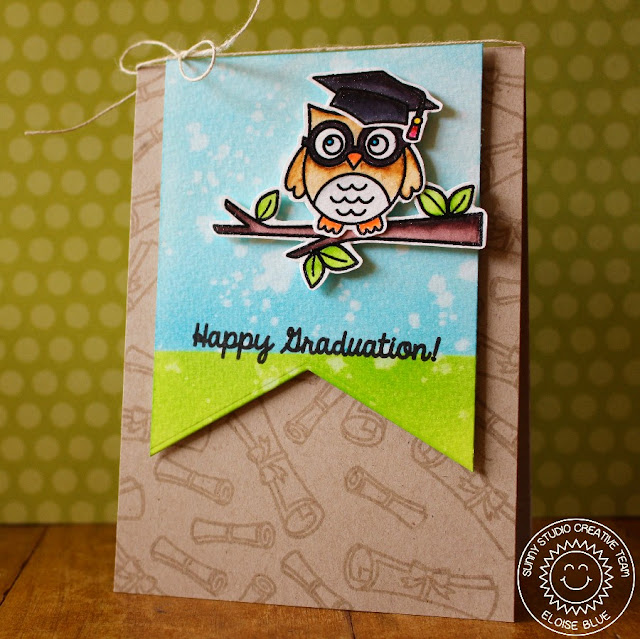 Sunny Studio Stamps: Woo Hoo Happy Graduation Owl Card by Eloise Blue.