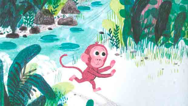 Ilustración interior del álbum ilustrado Pequeña en la jungla de Marta Altés